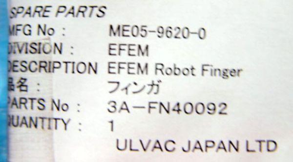 Ulvac 3A-FN40092 ME05-9620-0 EFEM ROBOT FINGER AUTO LOADER
