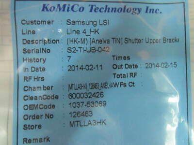 CANON ANELVA 1037-53069 HK-M TIN SHUTTER UPP BRACKET KOMICO CLEANED