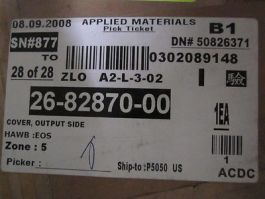 AMAT 26-82870-00 COVER,OUTPUT SIDE
