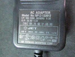 GO FORWARD NP12-1S0912 AC Adapter, I/P: 100-120V 50/60Hz 0.3A, O/P: DC 9V 1.2A