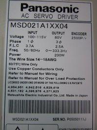 PANASONIC MSDO21AXX04 MINAS SERVO DRIVER