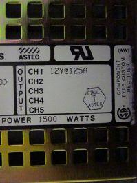 ASTEC JF151A-3000-0000 Power Supply, Input: 230V;13A; 50/60Hz, Level 5, Maximum