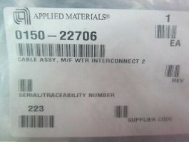 Applied Materials (AMAT) 0150-22706 Cable Assembly, M/F WTR Interconnect 2