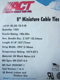 "ACT AL-08-18-0-M Length: 8.18"" 207.77mm Strap Width .094"" 2.38mm, Zip Ties"